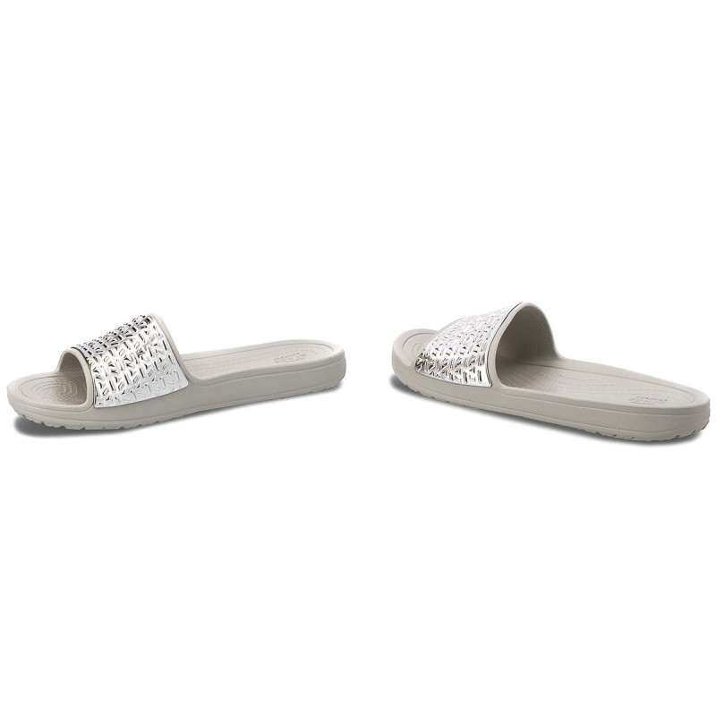 Pantoletten CROCS - Sloane Graphic Etched Slide W 205130 Pearl White/Silver IacUaU