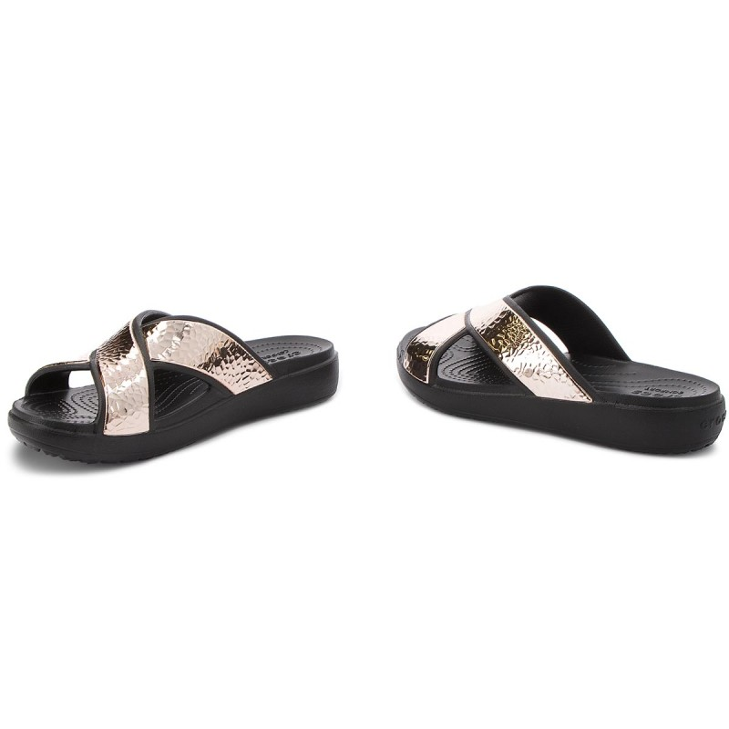 Pantoletten CROCS - Sloane Hammered Xstrp Slide W 205136 Black/Rose Gold