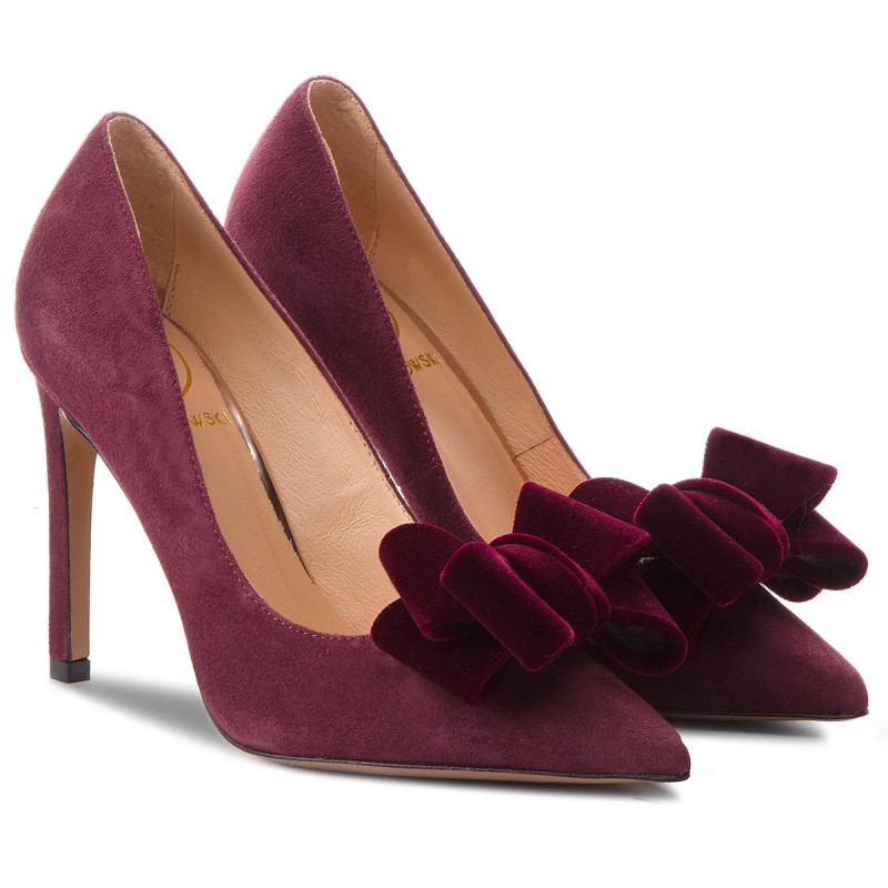 High Heels BALDOWSKI - W00567-1451-001 Zamsz Bordo/Aksamit
