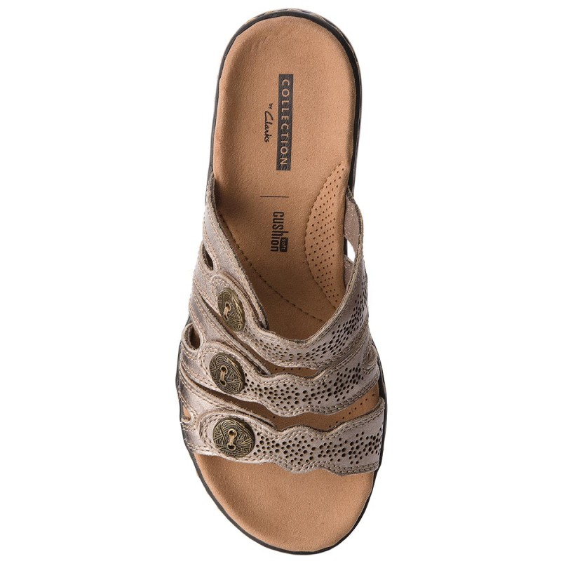 Pantoletten CLARKS - Leisa Grace 261341124 Pewter Metallic