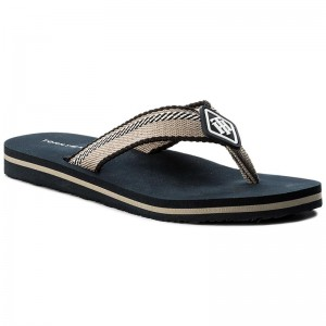 Zehentrenner TOMMY HILFIGER - Essential Stripe Beach Sandal FW0FW02378 Midnight 403