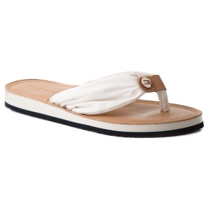 bd02c7825d627 Zehentrenner TOMMY HILFIGER Leather Footbed Beach Sandal FW0FW00475 Whisper  White 121