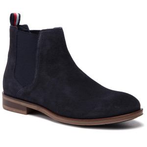 224d3061c98ca9 Stiefeletten TOMMY HILFIGER - Dress Casual Suede Chelsea FM0FM02212  Midnight 403